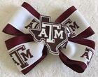 "Girls Hair Bow 4"" Wide Texas A M Aggies Burgundy Ribbon Logo French Barrette"