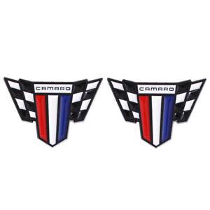2x Chevrolet Camaro Black Wing Car L&R Fender Emblem Stickers for SS RS ZL1 Z/28