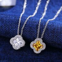 2 Colors 18K White Gold GF Simulated Diamond Exquisite Four Leaf Clover Necklace