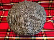 MEN'S SPECKLED BLUE HARRIS TWEED FLAT CAP DRIVING HAT FROM SCOTLAND