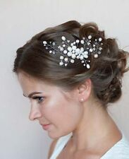 Bridal  Crystal Pearl Wedding Proms Hair Vine Comb Headpiece