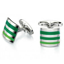 Fred Bennett Stainless Steel Green Strip Cufflinks
