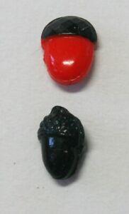 "2 Antique Victorian Glass Diminutive Realistic Acorn Buttons~Tiny <3/8"""