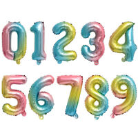 "16"" Giant Birthday Foil Number Balloon Rainbow Gradient Color Party Wedding Age"