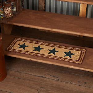 "VHC Brands Potomac Primitive Jute Stair Tread Stencil Stars w Latex Rect 8.5x27"""