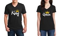 V-neck King & Queen #2 Couple Shirts SET Matching T-Shirts Valentine's Day Tees