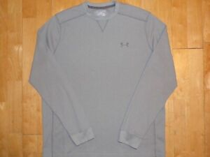 UNDER ARMOUR Mens COLD GEAR Gray XL Thermal LOOSE Long Sleeve Pullover Sweater