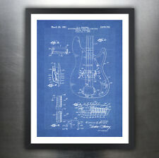 FENDER PRECISION BASS GUITAR POSTER Blueprint 1961 Patent Print 18x24 (unframed)