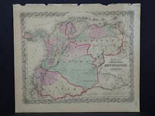 Colton's Maps, 1855, Authentic #12 Venezuela, New Granada, and Ecuador