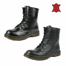Combat Boots Lace Up 100% Leather Upper Shoes for Women