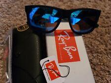 RAy BAN JUSTIN Sunglasses Matt Black Frame Blue Mirror LENS
