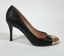 VALENTINO Black Textured Leather Gold Studded Rockstud Heels Shoes - size 38 / 8