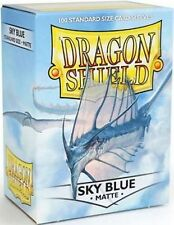 100 Bustine Buste protettive Dragon Shield Matte Standard MTG FOW Cielo/sky Blue