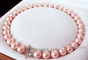Perfect 14mm Round Pink South Sea Shell Pearl Necklace 18''