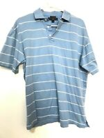 Tommy Hilfiger 100% Pima Cotton Golf Polo Shirt Striped Short Sleeve Blue Mens M