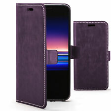 Sony Xperia 1 Case | Handmade PU Leather Premium Cover Wallet | Purple + Stylus