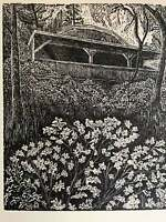 Hidden cabin in the woods with poem wood engraving sunshine forest
