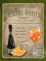 APEROL SPRITZ COCKTAIL RECIPE METAL SIGN 2 SIZES TO CHOOSE FROM: HOME DECOR:BAR