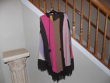 Women's Multi Color Lucky Brand Hooded Fringe Poncho Missy Size S