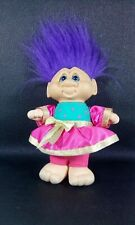 VTG 1992 GANZ Girl Russ Troll Doll Groom Purple Hair Pink Dress Blue Eyes 11""