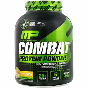MusclePharm, Combat Protein Powder, Banana Cream, 4 lbs  25 g Protein