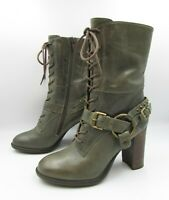 Janet & Janet Italy 36/5.5 Olive Green Leather LaceUp Zip Harness Mid Calf Boots