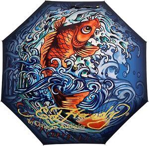 Ed Hardy by Christian Audigier KOI FISH Print Auto Open Stick Umbrella NEW