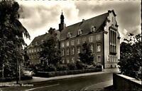 Nordhorn Niedersachsen Postkarte ~1950/60 Straßenpartie am Rathaus Grünanlage