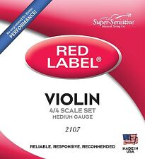 NEW RED LABEL 12106 SUPER SENSITIVE VIOLIN 4/4 SOFT GAUGE STEELCORE STRINGS USA