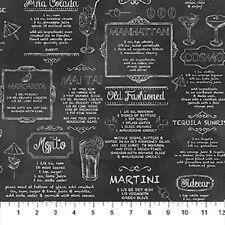 Recipes For Alcoholic Drinks-Northcott Fabrics-Blackboard Print-Fat 1/4