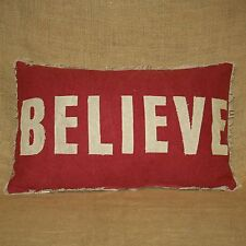 Believe Throw Pillow with Candy Cane Print Back Christmas Primitives by Kathy
