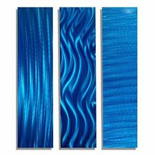Abstract Blue Modern Metal Wall Art Accents - Blue Trilogy II by Jon Allen