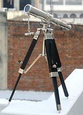 Vintage Nautical Pirate Spyglass Chrome Telescope With Wooden Tripod Decorative