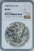 1988 Silver American Eagle Dollar $1 / NGC MS69 🇺🇸