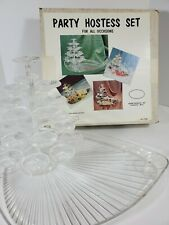 Vtg Serving Tree tray Plastic Crystal Holiday Party Union Products Hostess Set