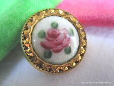5372-A – Hand Painted Rose Cloisonné Basse Taille Enamel Button on Original Card