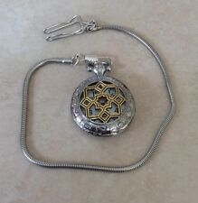 Geneva Pocket Watch Quartz Two Tone Unique Designed Case Time Chain New Style!