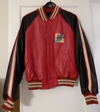Rare -OFFICIAL ALL STAR CAFE NEW YORK Leather Baseball Jacket Size M's SM - 1995