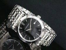 NEW BURBERRY SILVER TONE HERITAGE STAINLESS STEEL BLACK DIAL MEN WATCH BU1364
