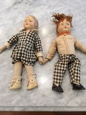Vintage Cloth Dolls with Composition Heads - Twins