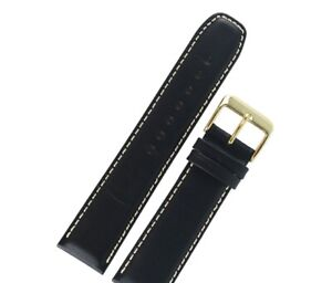 20mm Calf Leather Watch Strap Black New 615R.01.20.W (Silver Buckle)