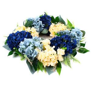 21.6'' Blue White Hydrangea Floral Spring Summer Grapevine Door Wreath Decor USA