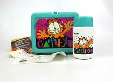 Vtg Garfield The Cat 1978 Plastic Lunchbox W/ Thermos Inserts Turquiose Euc