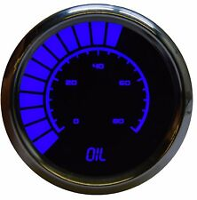 LED Analog Bargraph OIL PRESSURE Gauge in BLUE w/ Chrome Bezel by Intellitronix