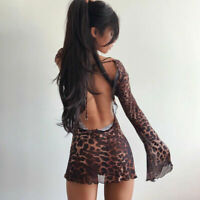 Sexy Women Backless Long Sleeves Leopard Print Perspective Mini Dress Night Club