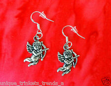 CUPID ANGEL SILVER DANGLE EARRINGS~VALENTINES DAY GIFT FOR HER MOM~STERLING HOOK