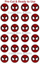 24 x SPIDERMAN ROUND FACE Edible Wafer Cupcake Toppers PRE-CUT Ready to Use