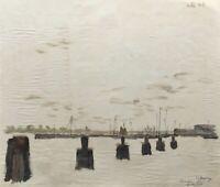 Stralsund Hafen Aquarell Ostsee 1927 signiert 39,5 x 47,5 cm Vorpommern