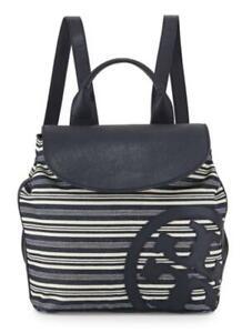 Tory Burch Striped Leather-Trim Denim Beach Backpack, Blue/White New DBN6