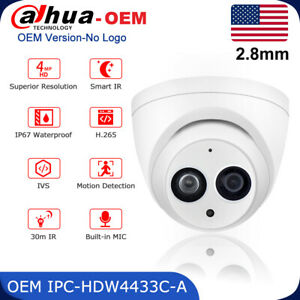 4MP Dahua MIC Security Camera OEM IPC-HDW4433C-A POE IR Turret IP Camera Outdoor